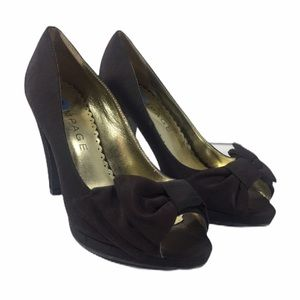RAMPAGE Women Black New Peep Toe Heel Shoe Sz 6.5